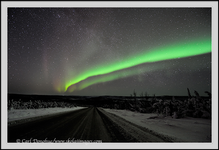 The northern lights stretch over the the expanse of the borealis forest in arctic Alaska. The Dalton Highway cuts through this landscape, running all the way to the Arctic Ocean. Here the northern lights glow above the Dalton highway. Aurora borealis photo, or northern lights, Alaska.